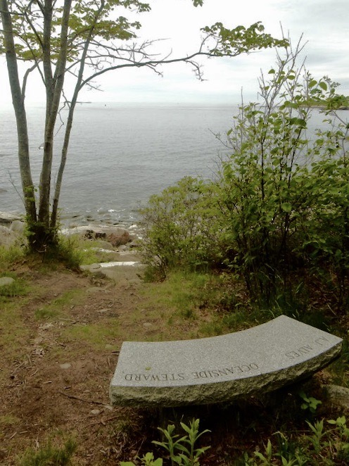 AJ Monument overlooking Casco Bay
